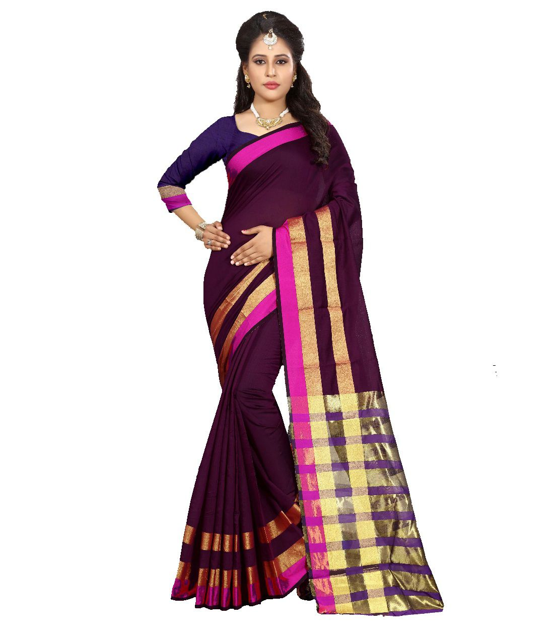 LADYETHNIC Brown Cotton Silk Saree