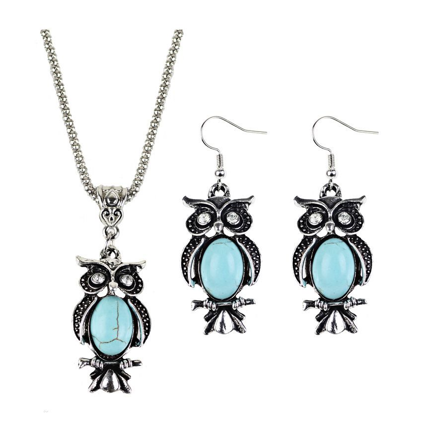 Turquoise owl earrings necklace set