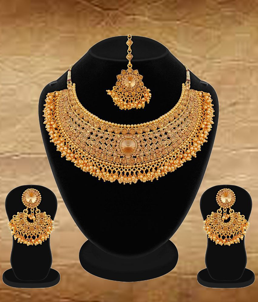 Apara Bridal Pearl LCT Stones Gold Plated Necklace Artificial Antique  Jewellery Set For Women