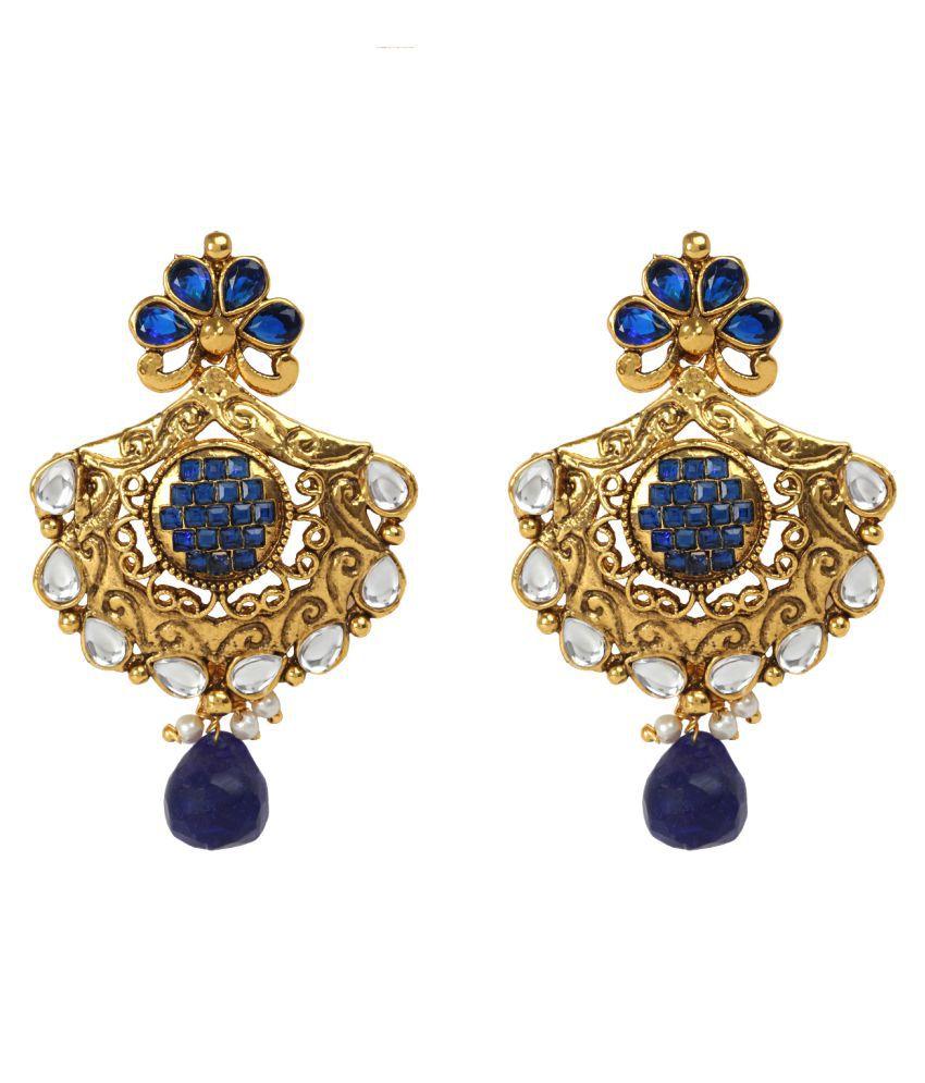 Dancing Girl Kundans Pearl Jewellery Blue Metal Alloy Dangler Drop Earring for Women Girls