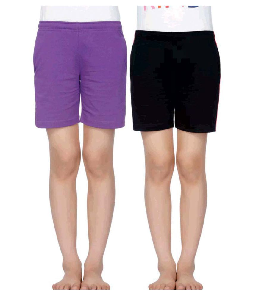 Dyca Girls Solid Shorts Pack of 2