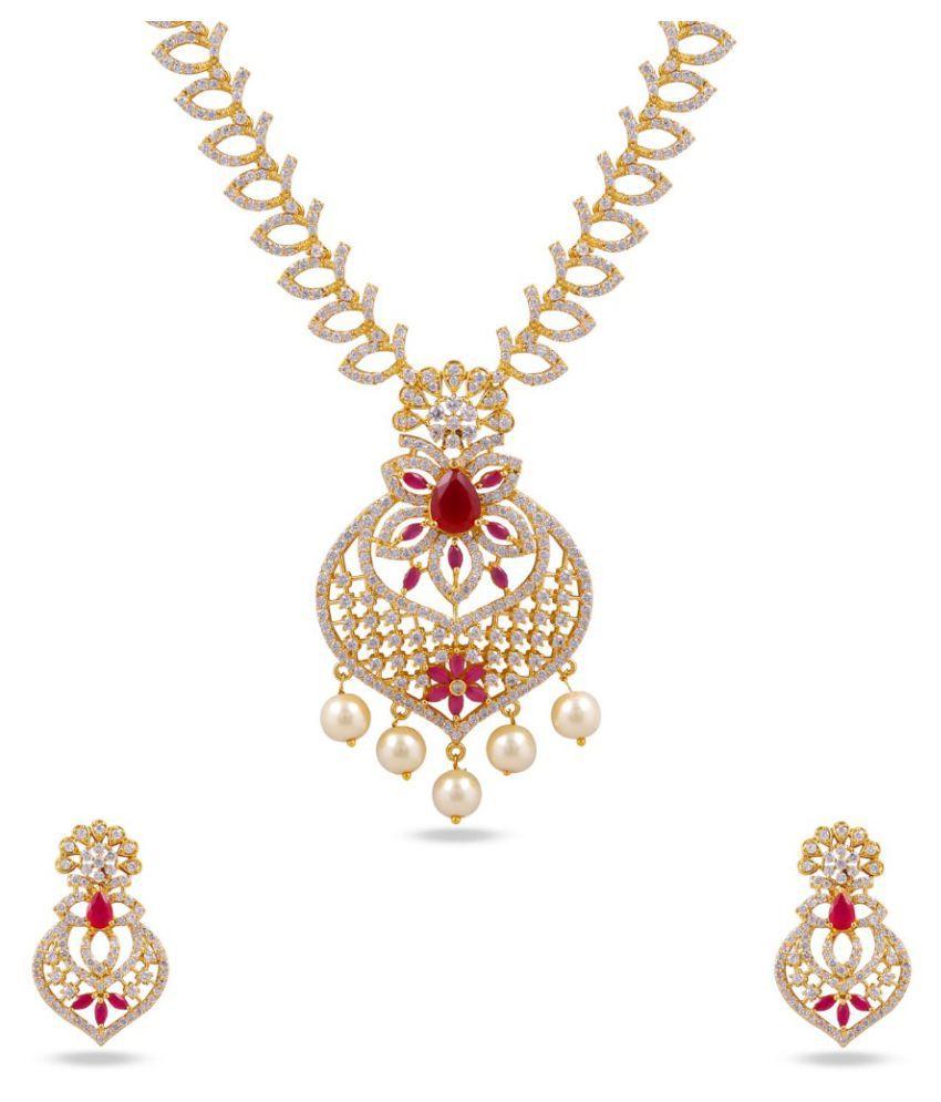 Maalyaa Brass Alloy AD Short Necklace Set for Women & Girls