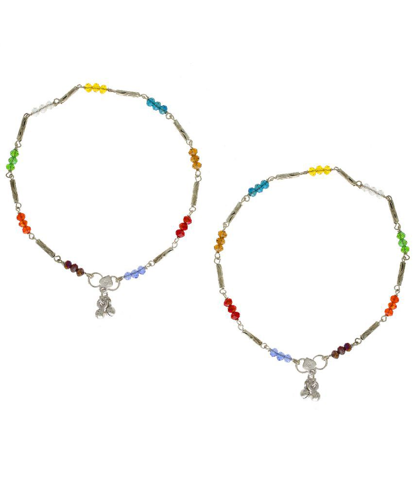 Anuradha Art Silver Finish Styled with Multi Colour Beads Anklet//Payal for Women//Girls