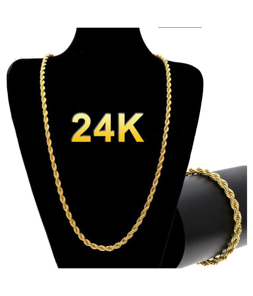 24kGoldLongChainNecklaceMenJewelryBrandGothicGoldColorMaleNecklaceGifts(Size:18-30inch,5mm)