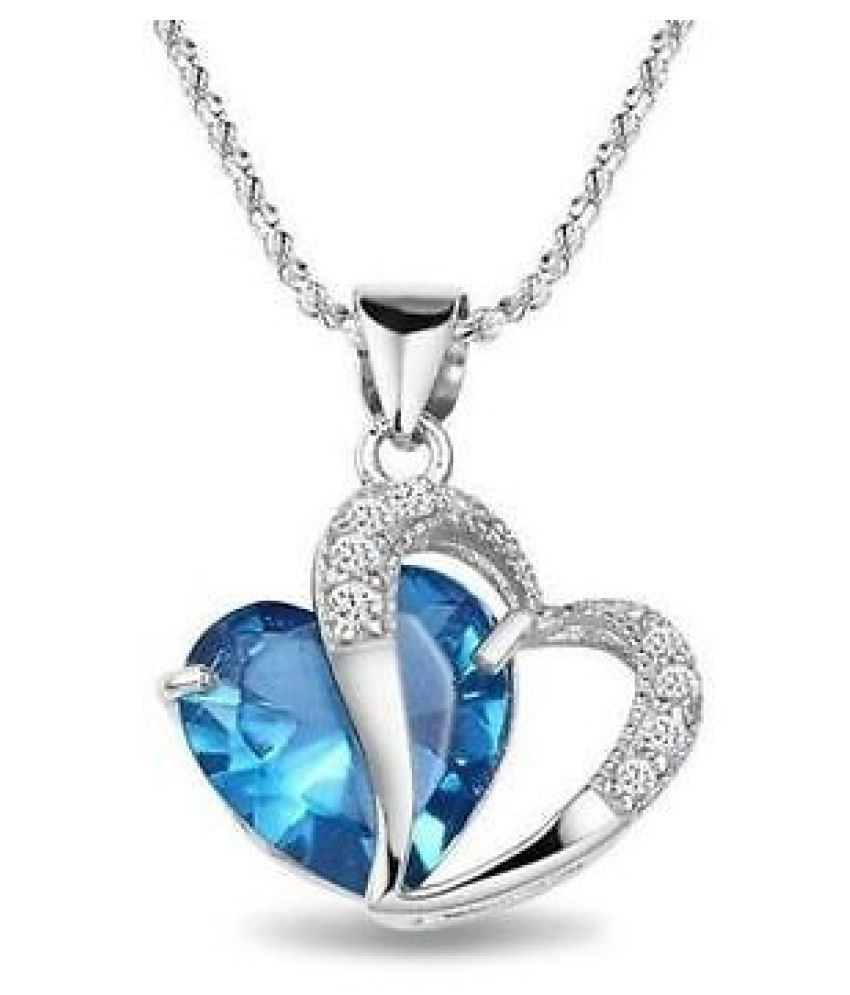 M-TARA1PC925SterlingSilverPlatedBlueCrystalGemstoneAmethystHeartPendantNecklaceGift