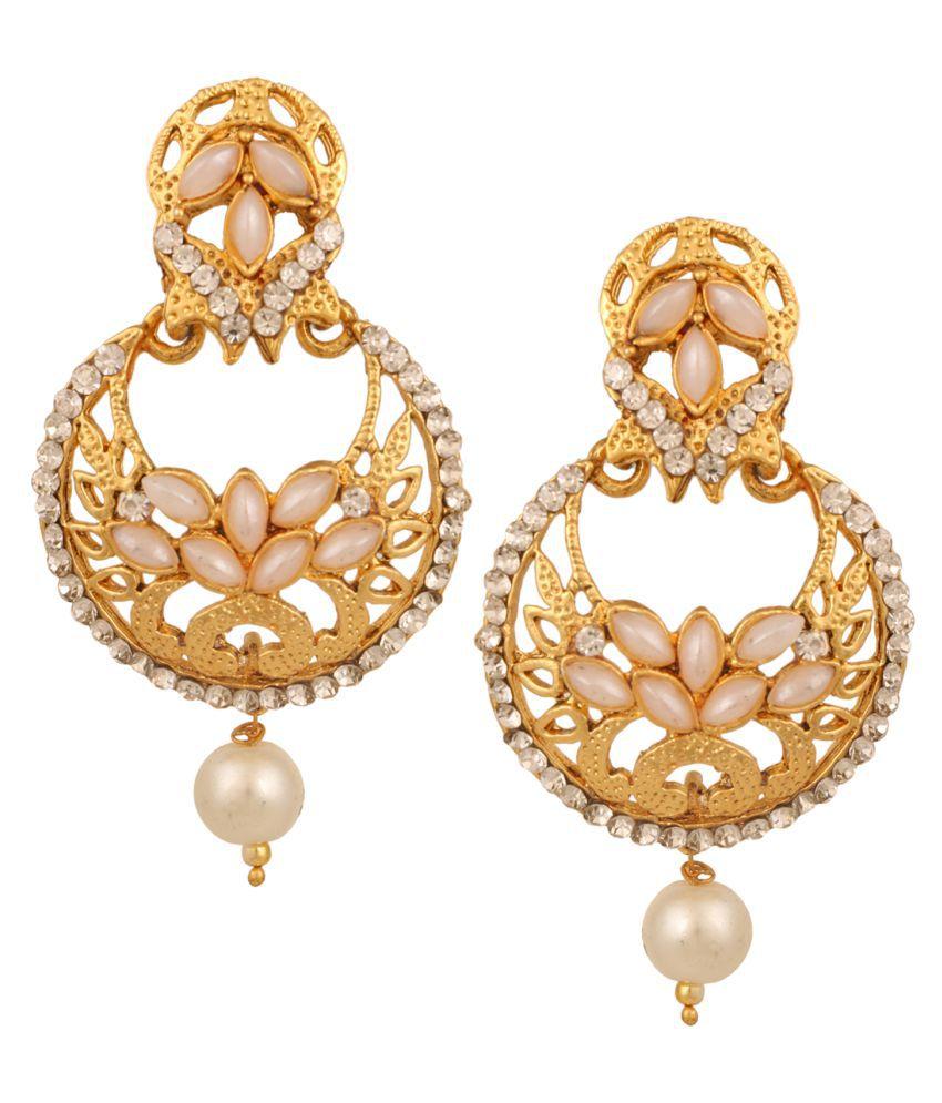 Dancing Girl Kundans Bridal White Pearlish Metal Alloy Chand Bali Earrings for Women