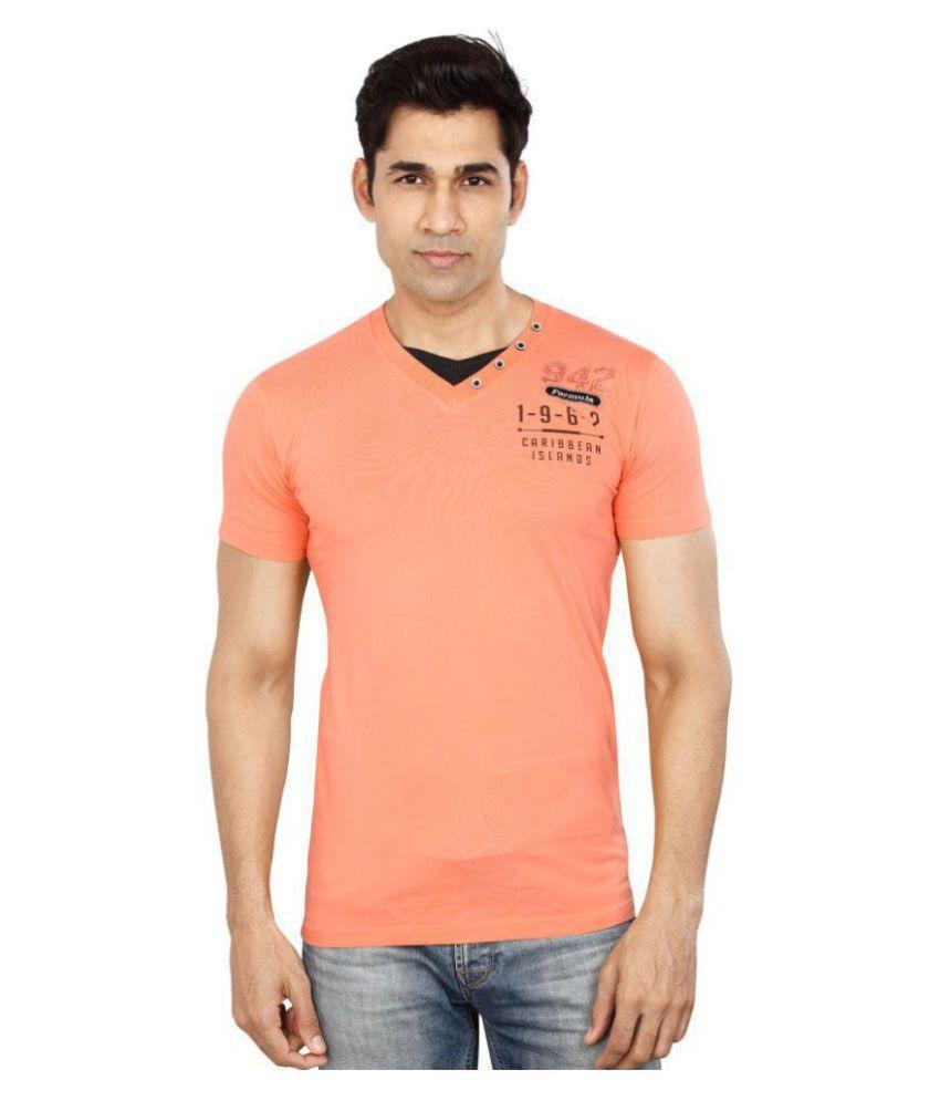 Dudlind Orange V-Neck T-Shirt Pack of 1