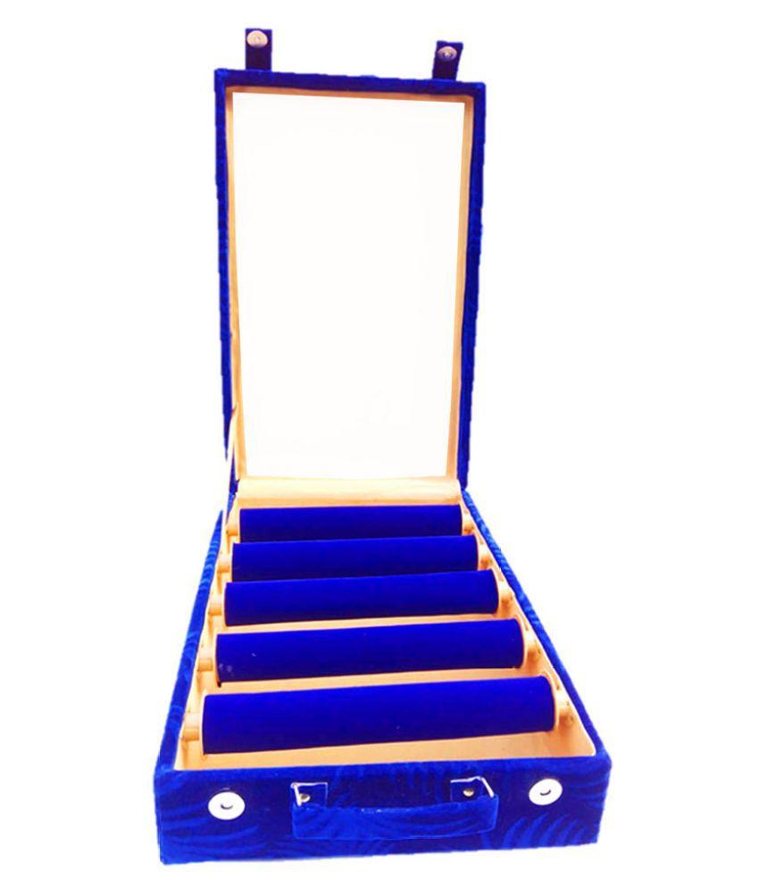 atorakushon® 5 roll rod wodden velvet bangles box with clear plastic Jewelry Storage Travelling Box Bangle Bracelet Box Travel Gift Box jewellery Case Organizer Attractive Look Stylish Fashionable Girls Makeup Vanity Box (Blue)
