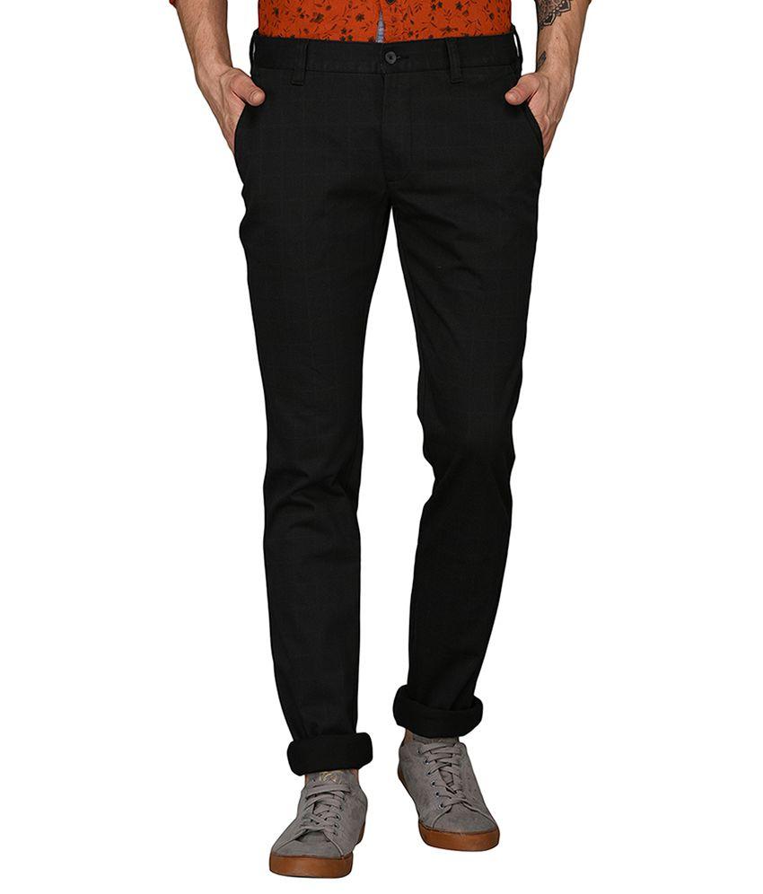 Greenfibre Black Slim -Fit Flat Trousers