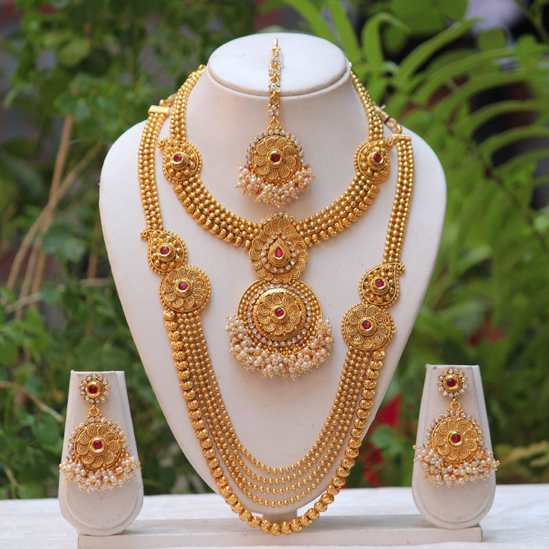 Swarajshop Gold Plated Alloy Long Rani Haar Multi Strand Necklace Set With Earrings And Maang Tika