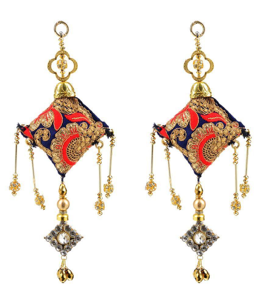 Fabric and Lace Multi Colour Ethnic Hanging Latkans (10 cm x 4 cm x 10 cm, Pack of 2, L198)