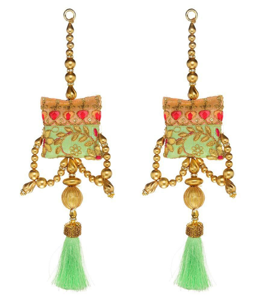 Fabric and Lace Multi Colour Ethnic Hanging Latkans (12 cm x 4 cm x 12 cm, Gold, Pack of 2, L138)