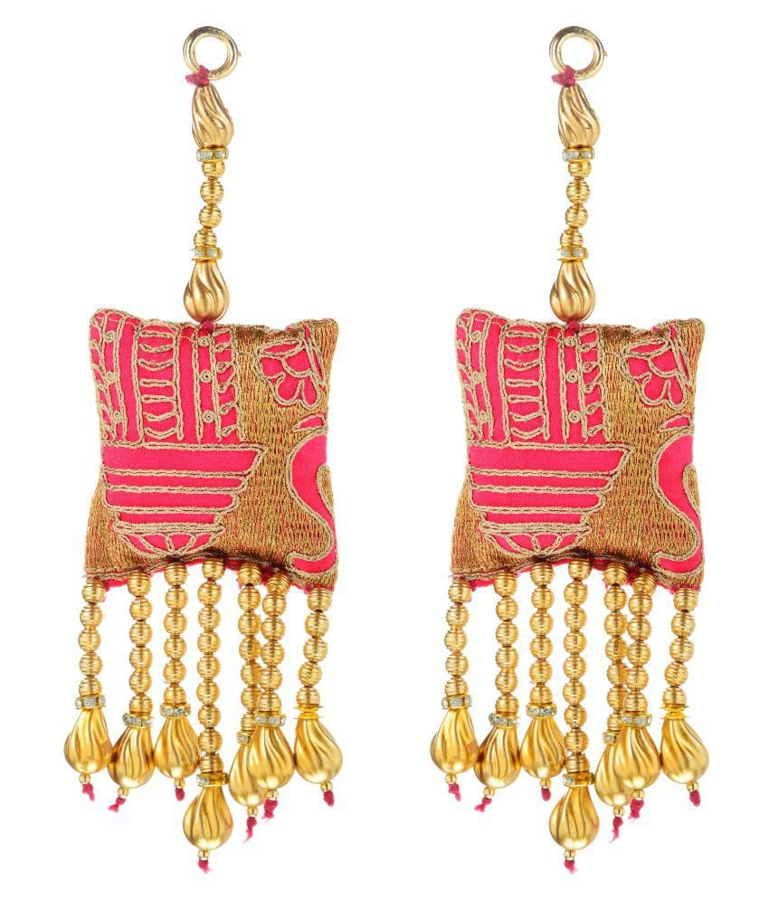 Fabric and Lace Multi Colour Ethnic Hanging Latkans (9 cm x 4 cm x 9 cm, Pink, Pack of 2, L164)