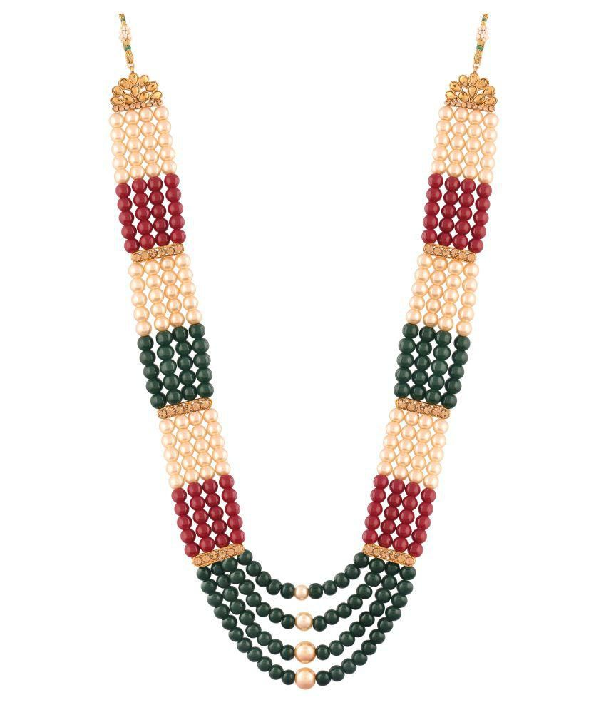 I Jewels Traditional Gold Plated Dulha Necklace/Moti Mala for Men (MLP13)
