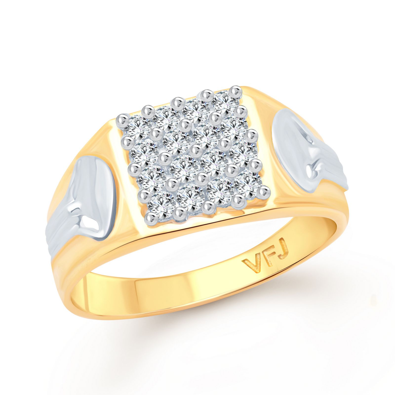 Vighnaharta Standard Look CZ Gold and Rhodium Plated Alloy Gents Ring for Men and Boys Ring -[VFJ5048FRG23]