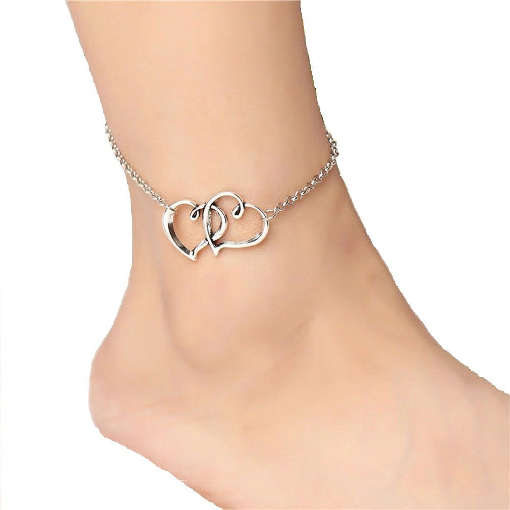 Ziory 1 Pcs Silver Plated Girl Fashion Double Heart Shaped Ankle Bracelet Barefoot Sandal Beach Foot Jewelry Anklet for Girls and Women