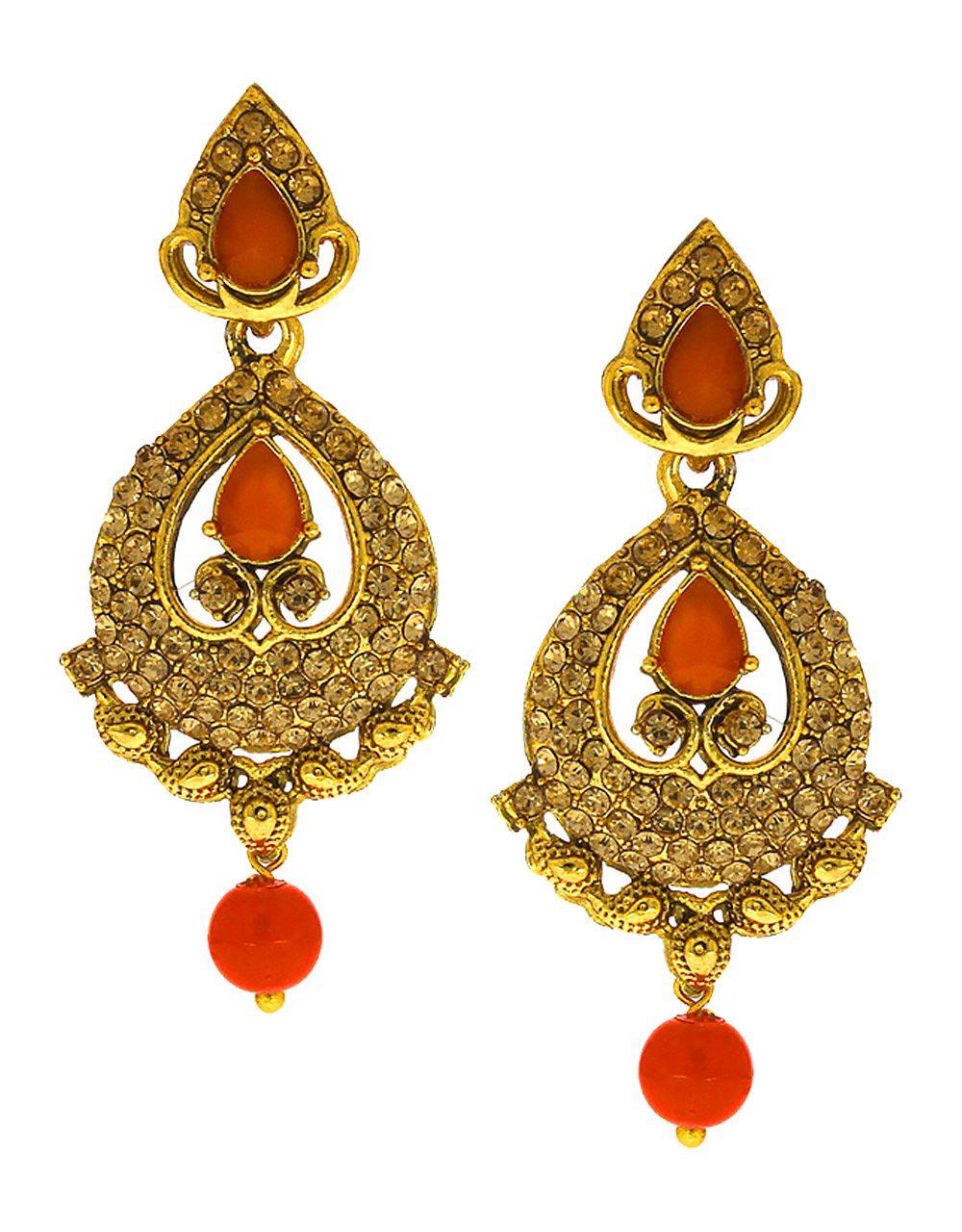 Anuradha Art Gold Finish Styled With Studded Sparkling Stone Designer Long Earrings For Women//Girls
