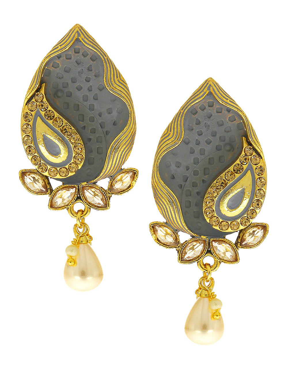 Anuradha Art Jewellery Grey Colour Wonderful Studs Styled Designer Traditional Earrings For Women/Girls
