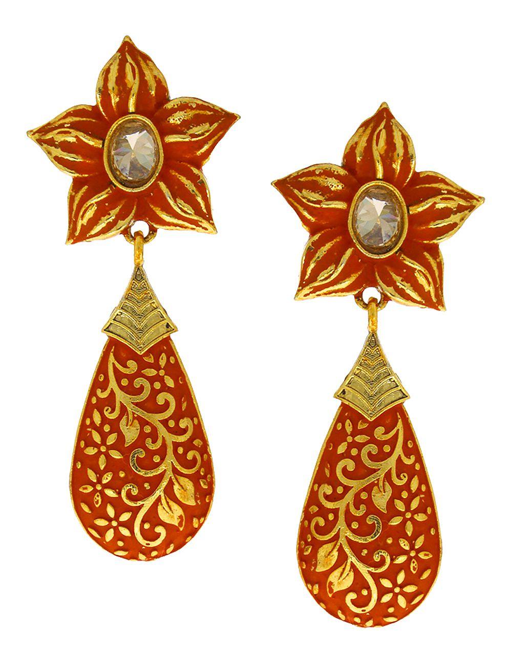 Anuradha Art Jewellery Orange Colour Studded Peach Colour Stone Classy Traditional Earrings For Women/Girls