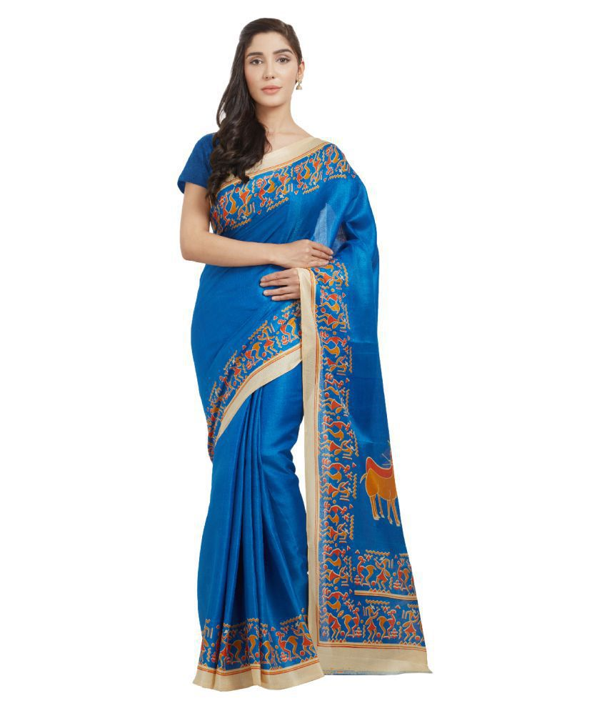 Today Deal Blue and Beige Bhagalpuri Silk Saree