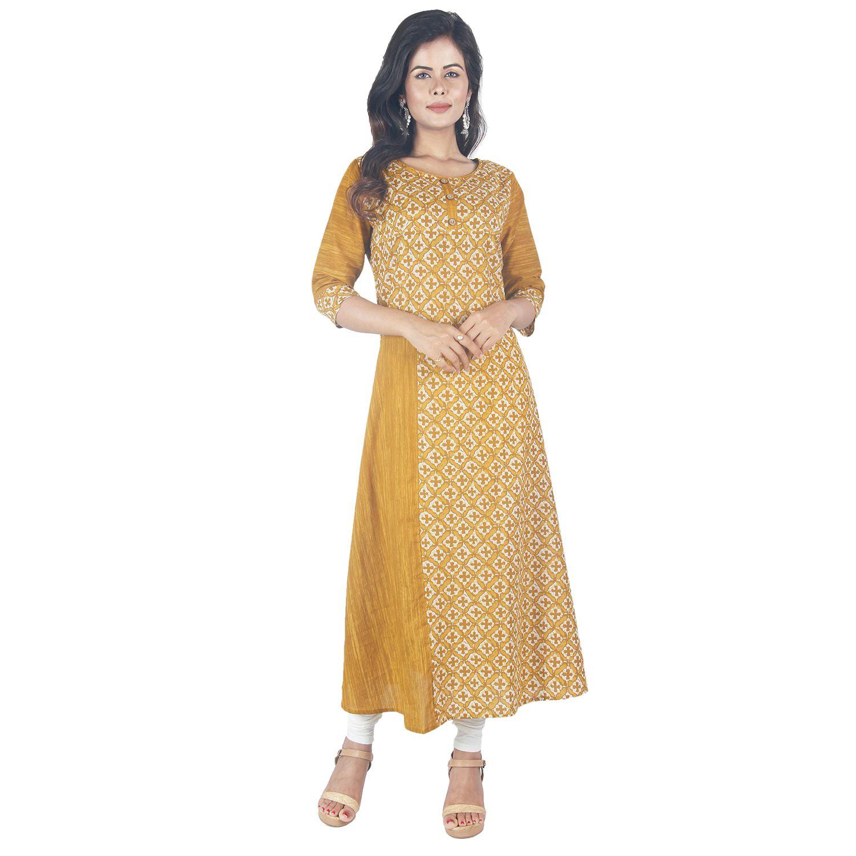 Vedika Creations Yellow Cotton Straight Kurti