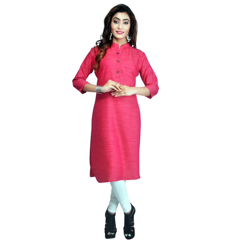 Vedika Creations Pink Cotton Straight Kurti