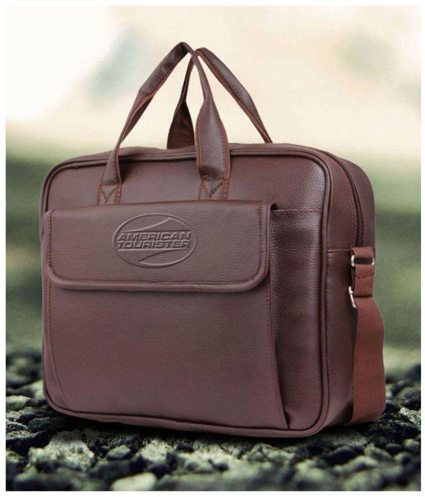 American tourister brown p u leather laptop bag office bag sling bag for men women side bag - American tourister office bags ...