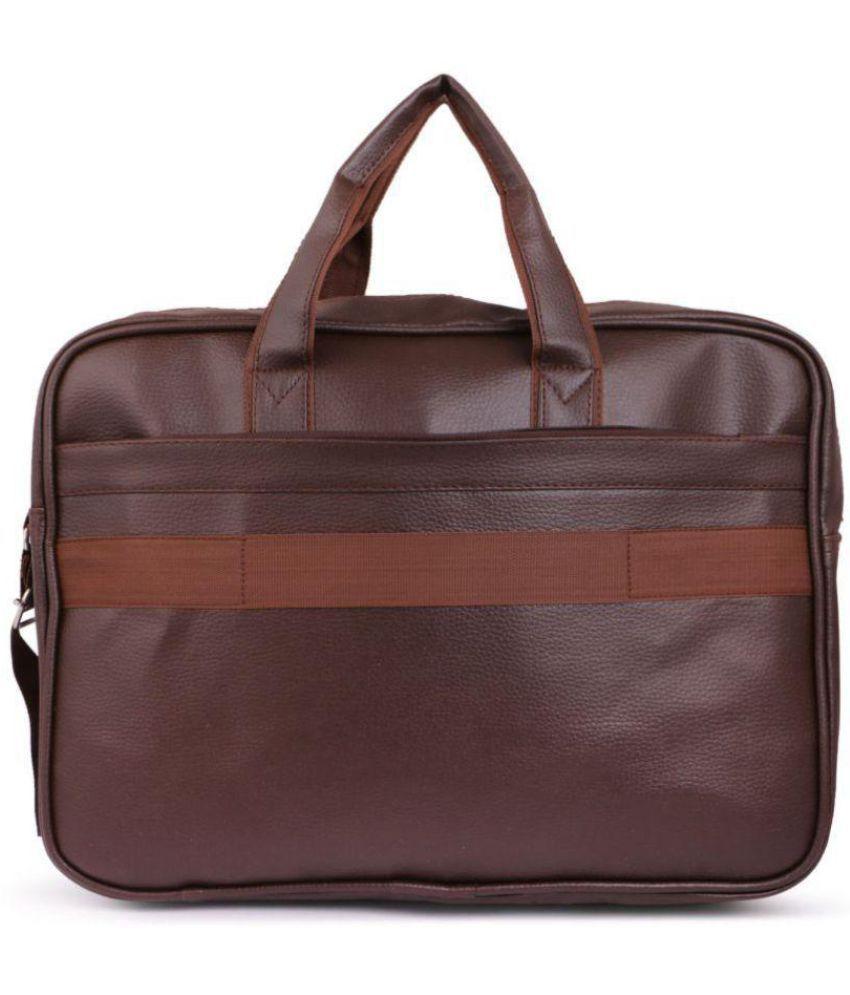 921684a2d5c2 ... Trouper Brown P.U. Leather Laptop Bag   Office Bag Sling Bag For Men    Women  ...