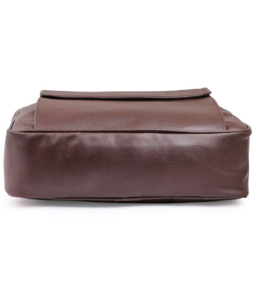 ce83d4c11abf ... Trouper Brown P.U. Leather Laptop Bag   Office Bag Sling Bag For Men    Women