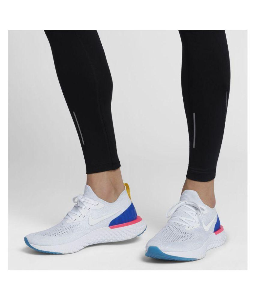 d2a27899f8ef Nike Epic React Flyknit White Running Shoes - Buy Nike Epic React Flyknit  White Running Shoes Online at Best Prices in India on Snapdeal