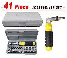 Usefull 41 Pcs (Including Box) Black Steel Ratchet Home Tool Kit
