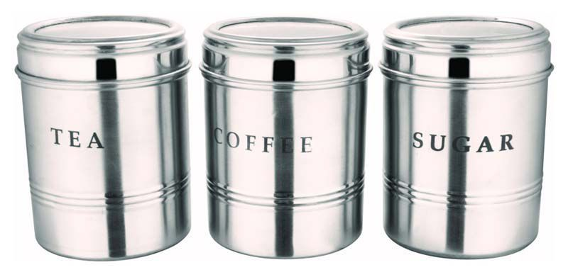 BOXY Steel Tea/Coffee/Sugar Container Set of 3
