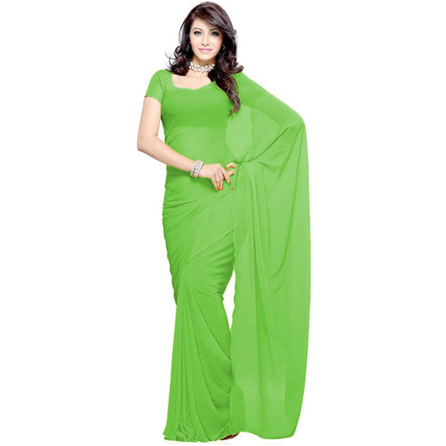 Fragrance Trendz Green Chiffon Saree