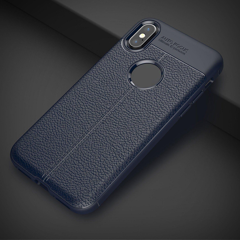 Xiaomi Redmi Note 5 Pro Plain Cases Beastin Blue Focus Series Auto New Leather Texture Shockproof Soft