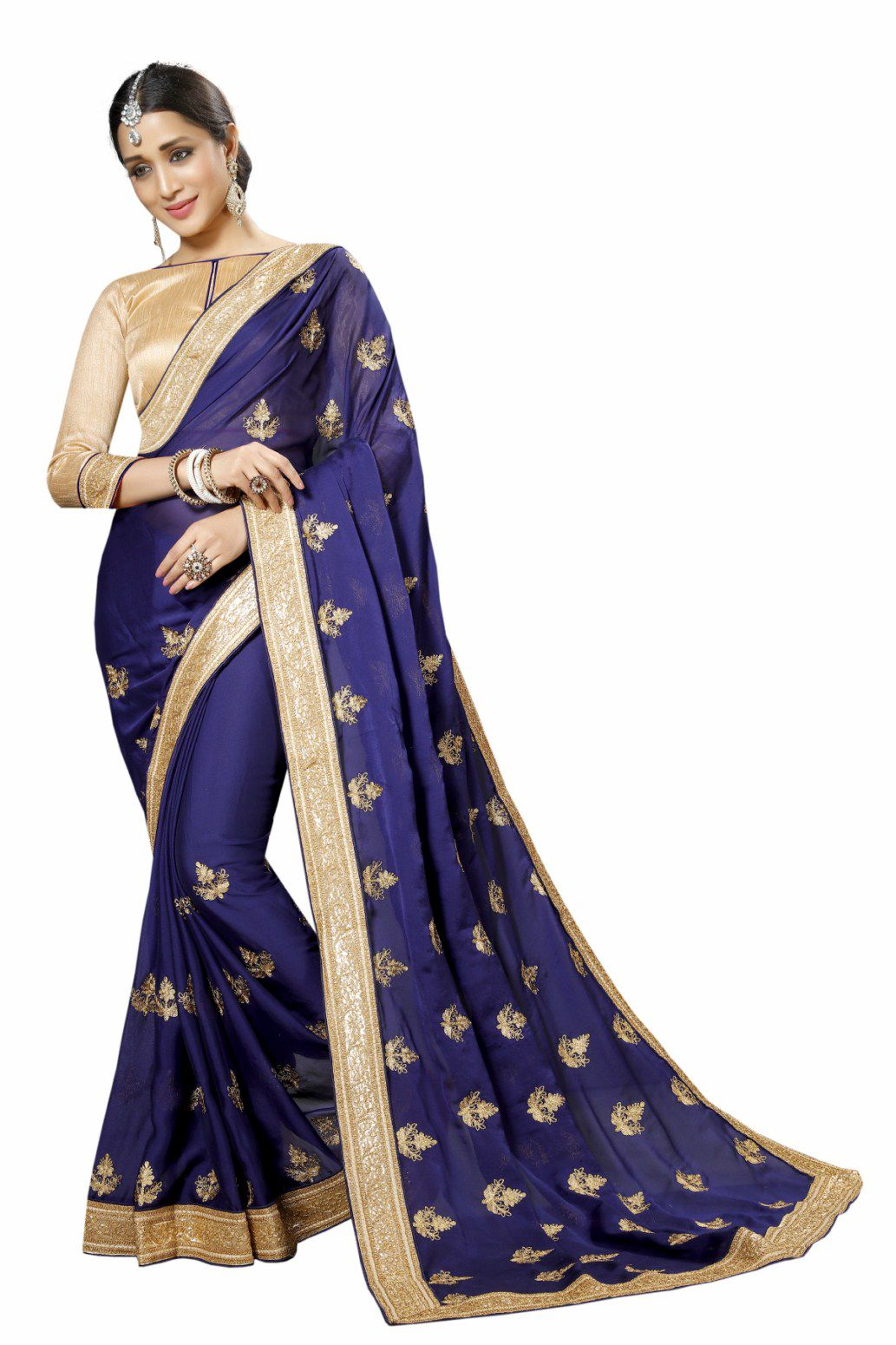 Hani Fashion Navy Mesh Saree