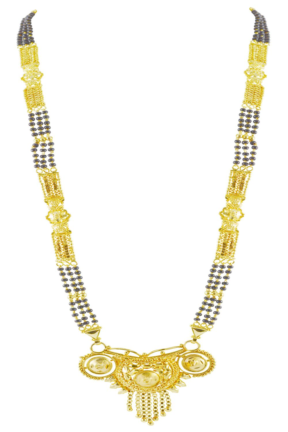 Rejewel Gold Plated Pendant With Multilayer Mangalsutra Chain