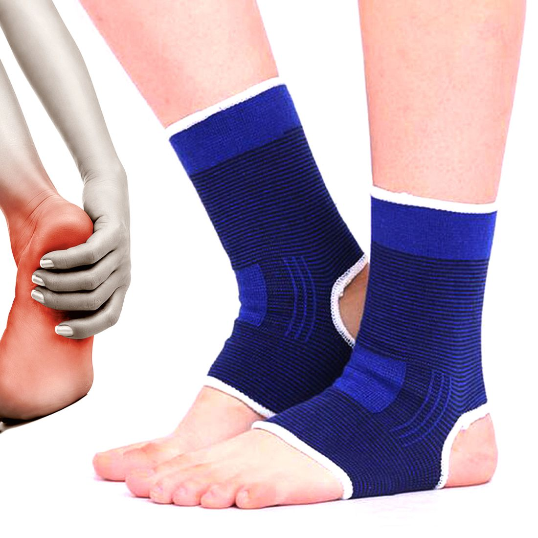 SJ 2 X Leg Ankle Joint Muscle Protection Brace Support Sports Guard Gym Free Size
