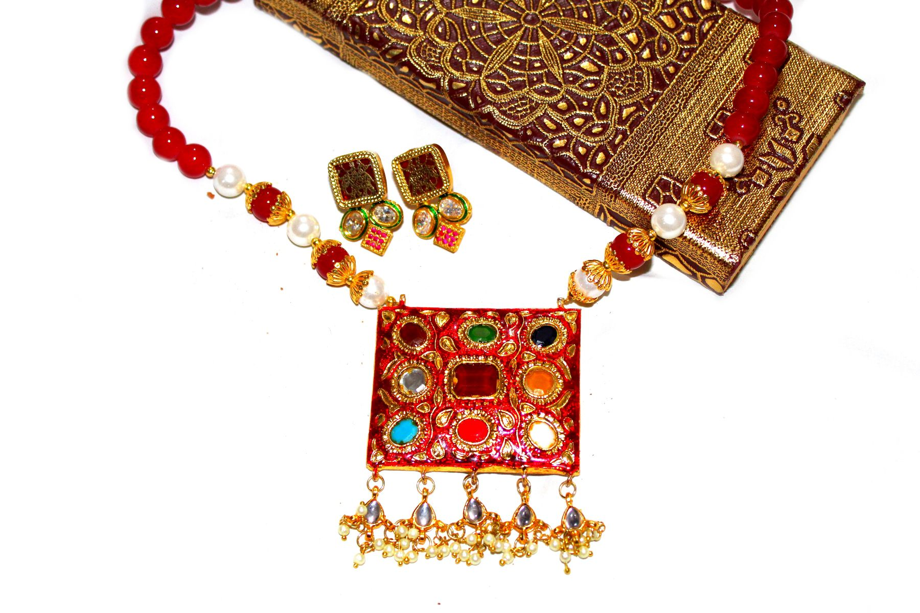 Designer Meenakari Dual Sided Padmavati Necklace and Earrings set by