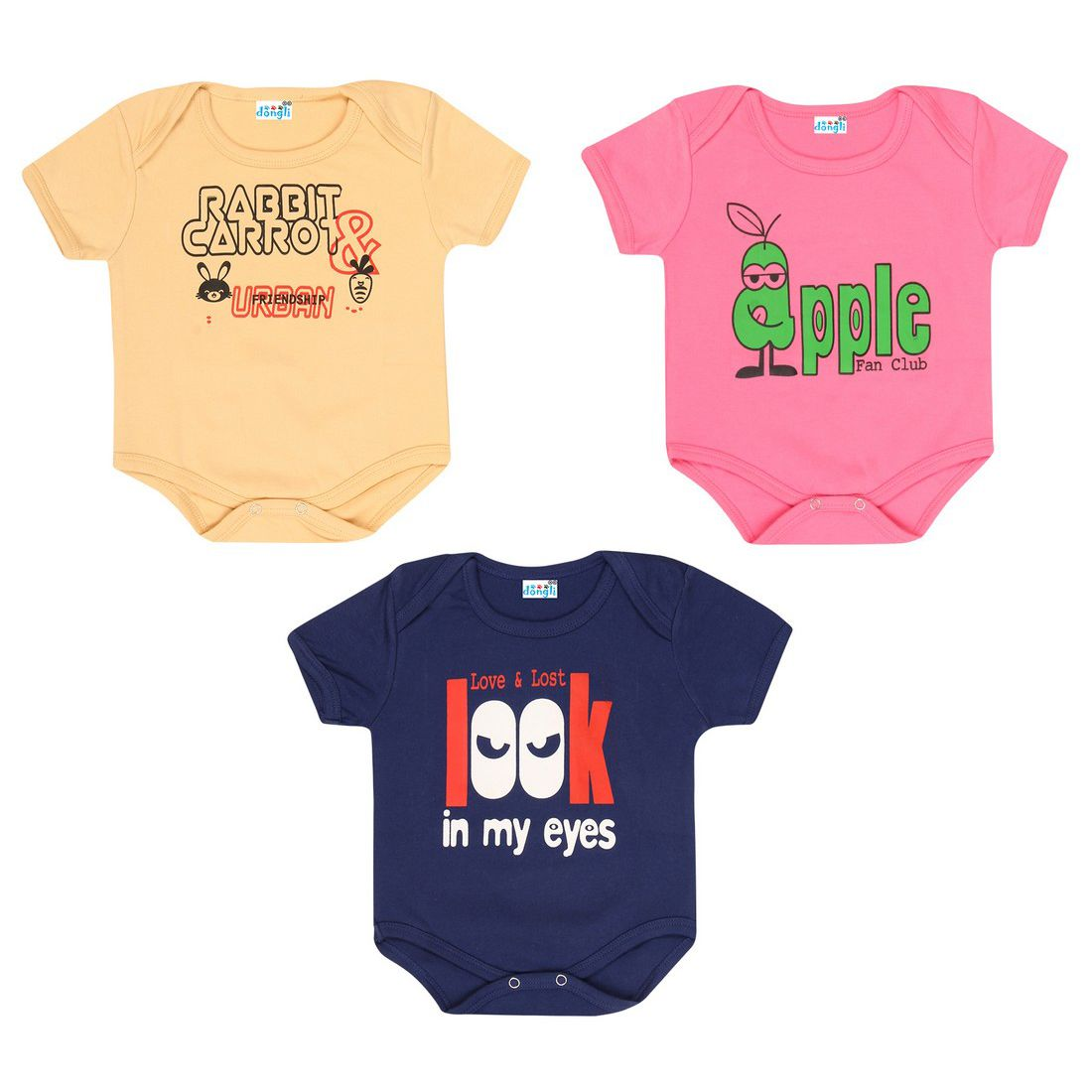 Dongli Unisex Cotton Printed Bodysuits(Pack of 3)