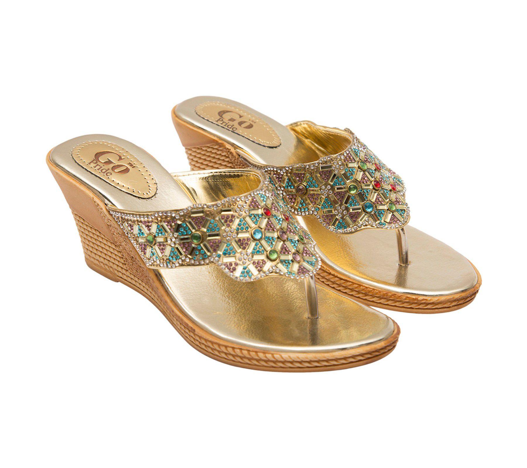 GO PRIDE Gold Wedges Heels