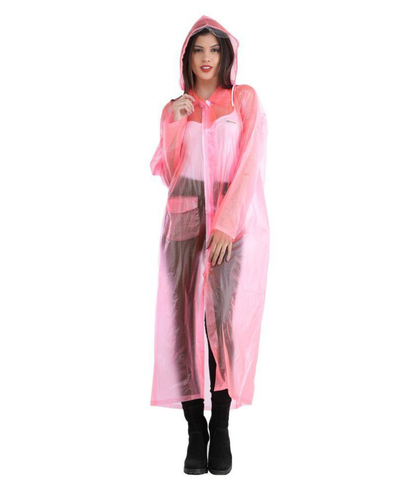 ELLIS Polyester Long Raincoat - Pink