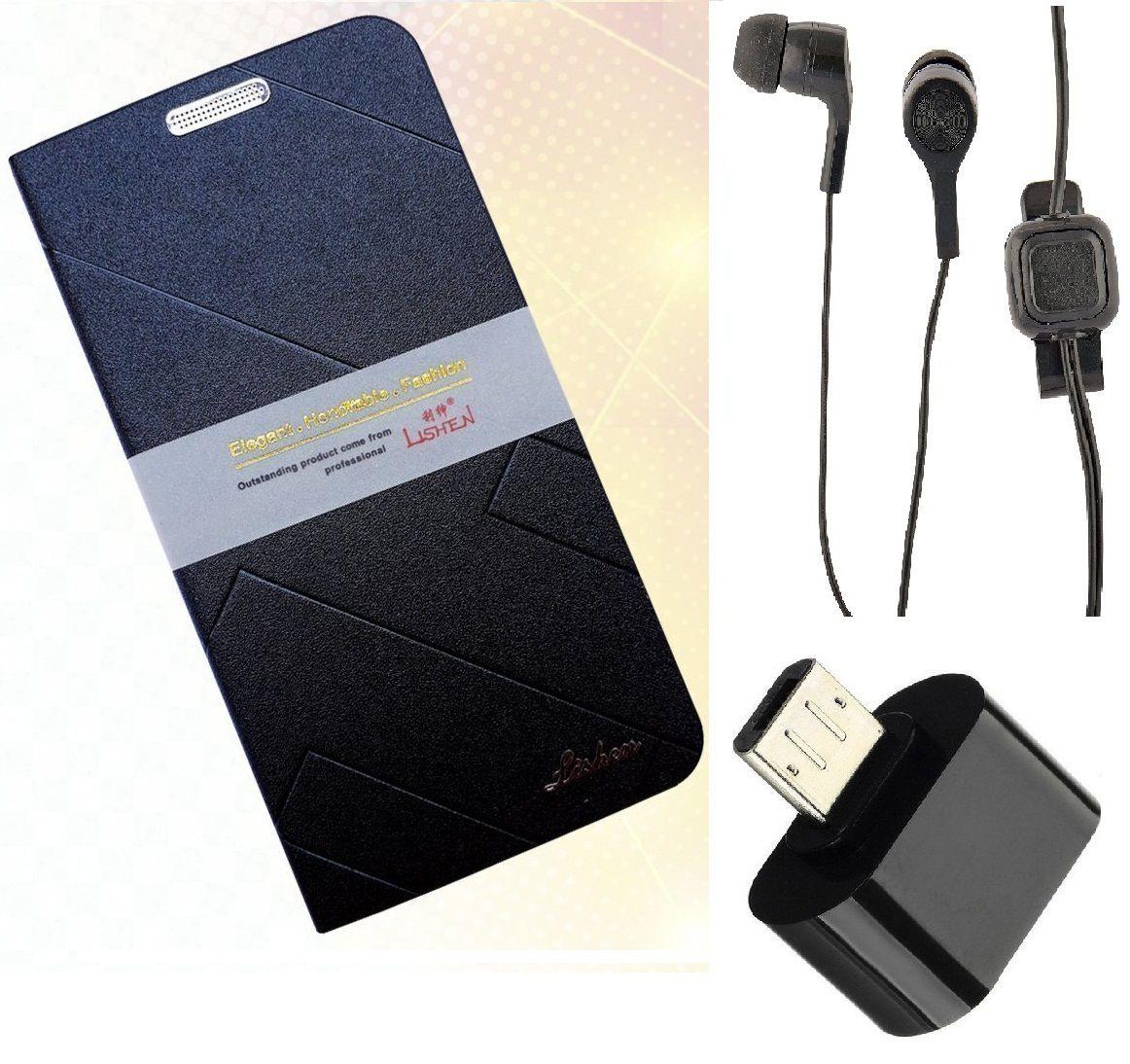 Motorola Moto C Plus Cover Combo by MuditMobi Lishen Flip Cover Combo