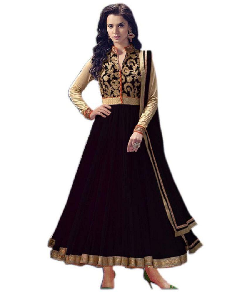 THE 9192 Black Net Anarkali Semi-Stitched Suit