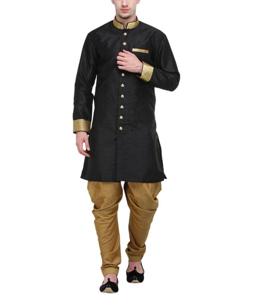 RG Designers Black Silk Blend Sherwani