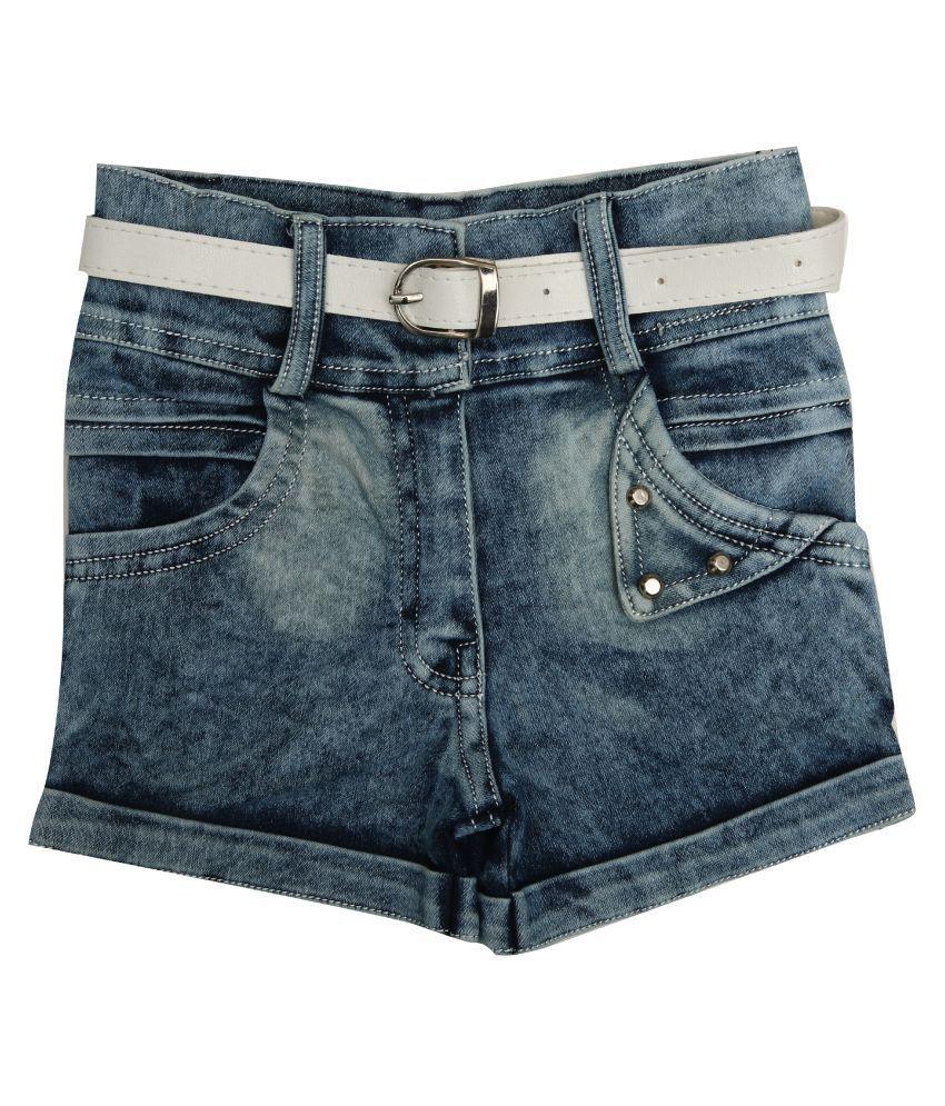 Zadmus Girls Denim HotPant (Blue, 6 -7 Years )