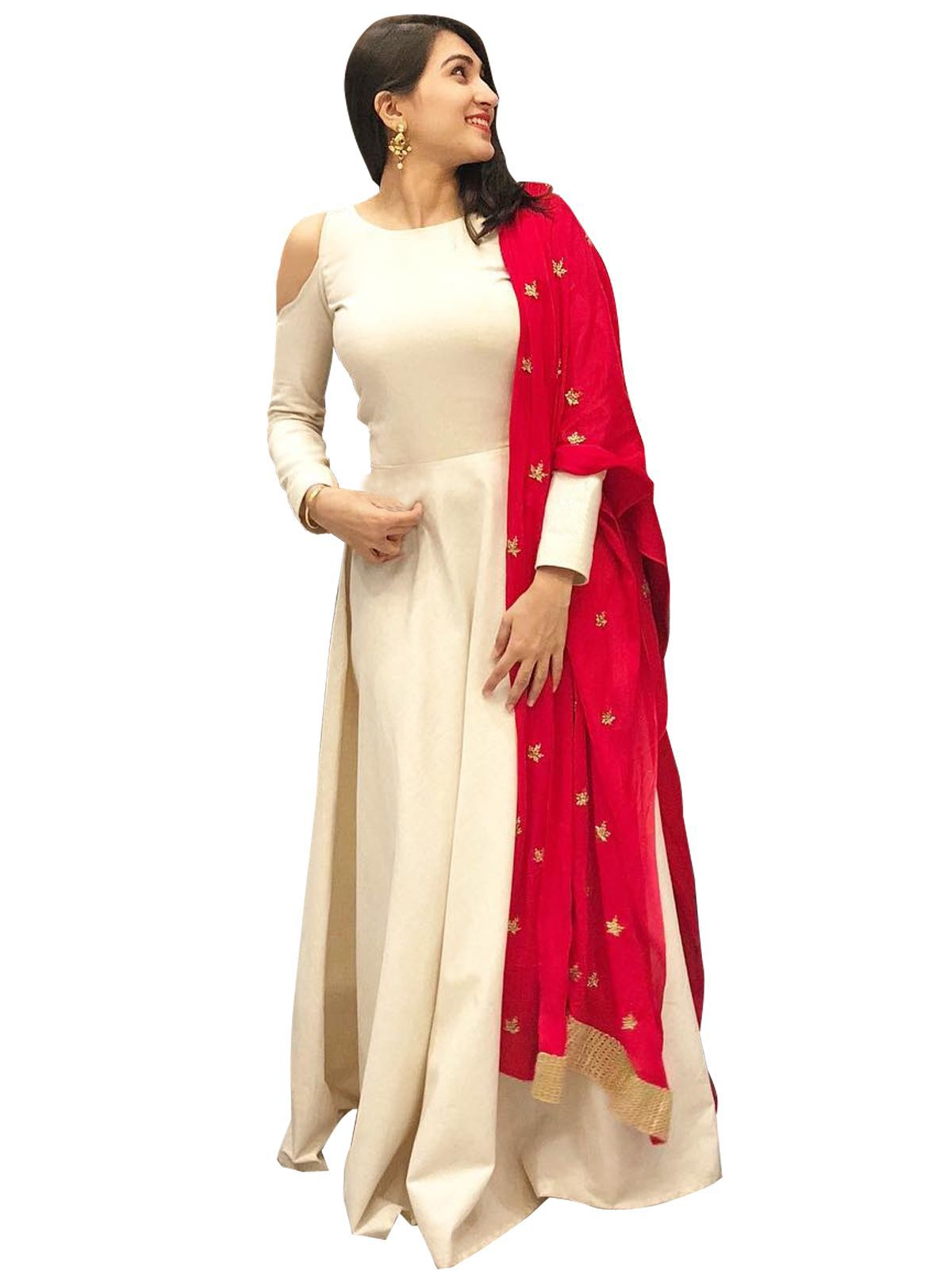 42834a6fdf ... ETHNIC DIWA Red and Beige Bangalore Silk Anarkali Semi-Stitched Suit ...
