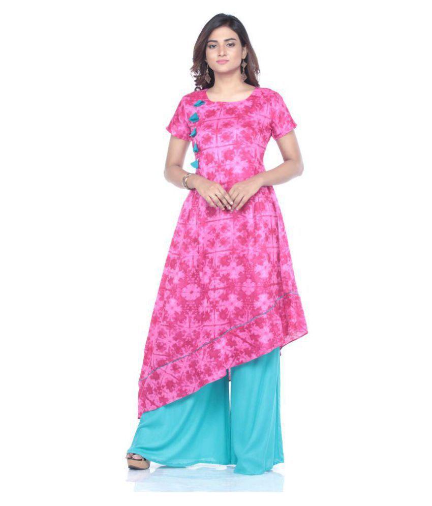Fida Pink Cotton Asymmetrical Hemline Kurti