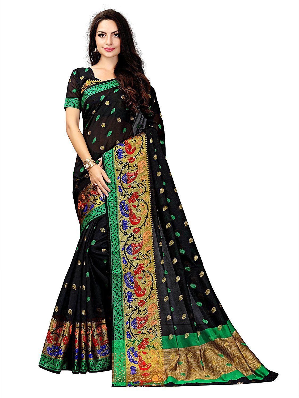 Gurukrupa Digital Black Silk Saree