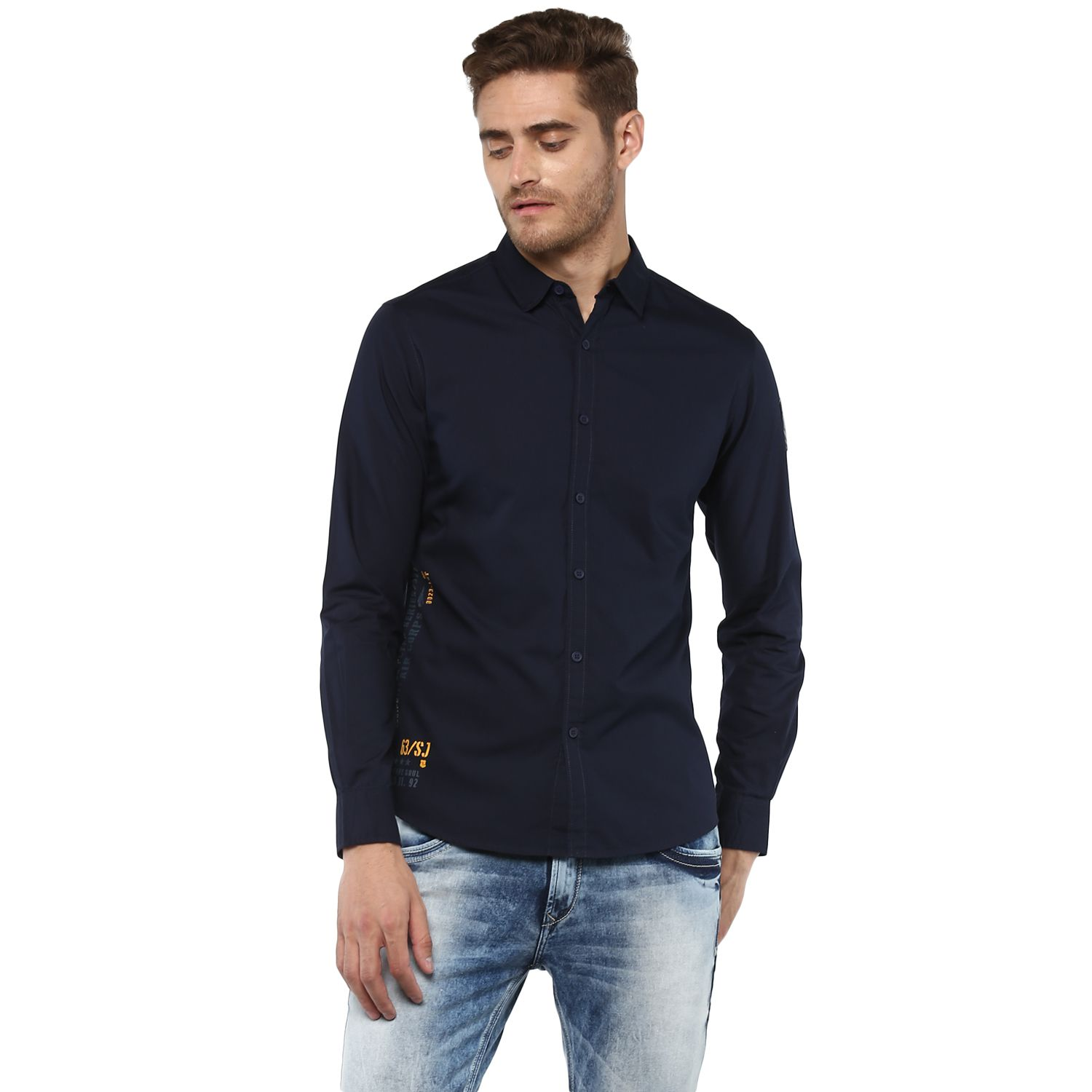 Spykar Navy Slim Fit Shirt