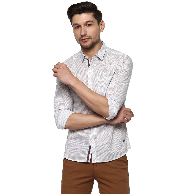 Spykar White Slim Fit Shirt